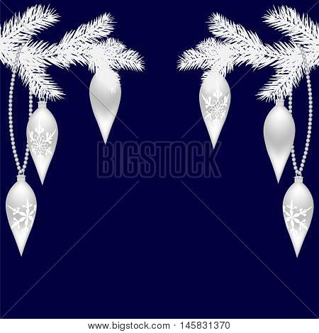 Two silver fir twigs with beautiful toys for the New Year. Christmas Spruce branches. Isolated on a blue background. Christmas vector illustration