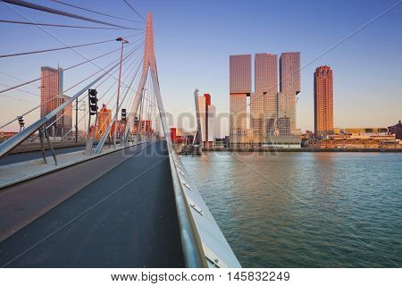Rotterdam. Image of Rotterdam, Netherlands during sunset golden hour.