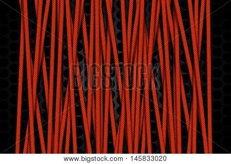 orange carbon fiber frame on black mesh carbon background. metal background and texture. 3d illustration material design.