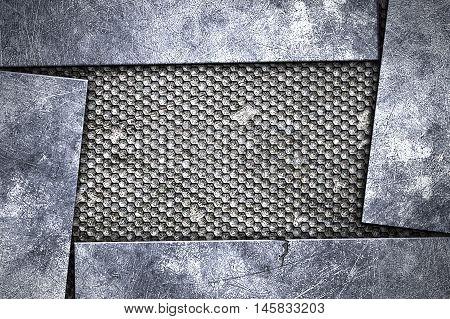 grunge metal background. metal plate on black grille. material design 3d illustration.