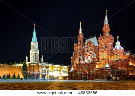 Nighttime view of State Historical Museum on the Red Square in Moscow, Russia