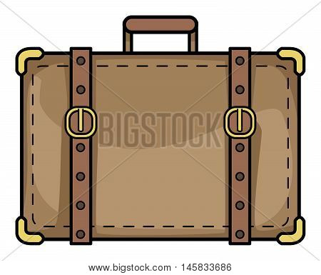 old suitcase, vector illustration, isolated on white