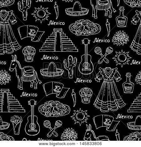 Vector seamless pattern on the theme of Mexico travel tourism. Pattern with isolated symbols of Mexico on black color.