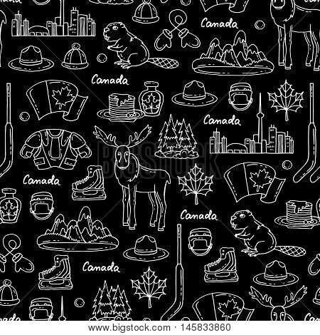 Vector seamless pattern on the theme of Canada. Pattern with symbols of Canada on black color.