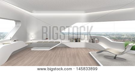 3D rendering of a futuristic modern living room interior