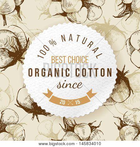 Organic cotton round label on seamless background