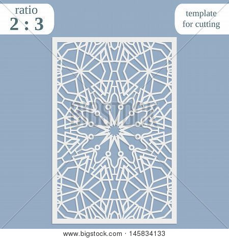 Paper openwork greeting card template for cutting lace invitation lasercut metal panel wood carving symmetrical ornament vector illustration