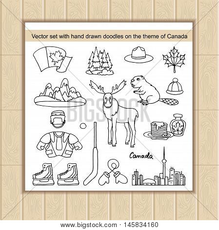 Vector set of hand drawn doodles on the theme of Canada. National symbols of Canada.