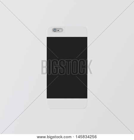 Closeup One Blank White Clean Template Cover Phone Case Smartphone Mockup.Generic Design Mobile Back Isolated Empty Background.Ready Corporate Logo Black Label Message.3d rendering