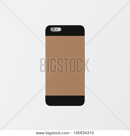 Closeup One Blank Brown Clean Template Cover Phone Case Plastic Smartphone Mockup.Generic Design Mobile Back Isolated White Empty Background.Ready Corporate Logo Black Label Message.3d rendering