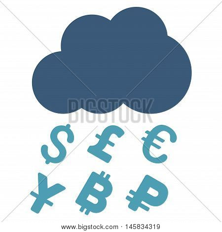 Money Rain icon. Vector style is bicolor flat iconic symbol, cyan and blue colors, white background.