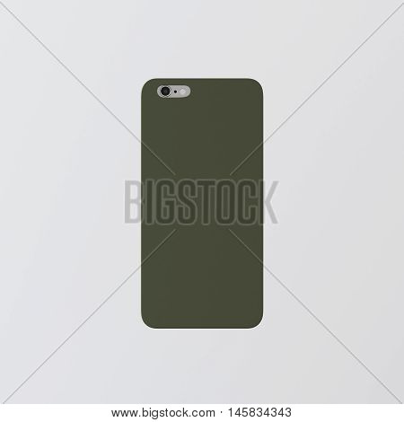 Closeup One Blank Green Clean Template Cover Phone Plastic Case Smartphone Mockup.Generic Design Mobile Back Isolated White Empty Background.Ready Corporate Logo Label Message.3d rendering