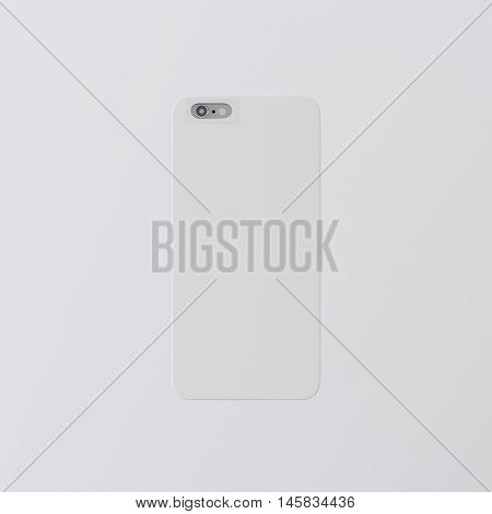 Closeup One Blank White Clean Template Plastic Cover Phone Case Smartphone Mockup.Generic Design Mobile Back Isolated Gray Empty Background.Ready Corporate Logo Label Message.3d rendering