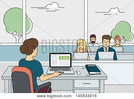 Busy students sitting at the table and learning in a university class with laptops. Flat outlined illustration of university teacher working with laptop during class exam or professional lesson