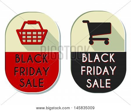 black friday sale with shopping basket and cart signs - two elliptic flat design labels, business holiday commerce concept, vector