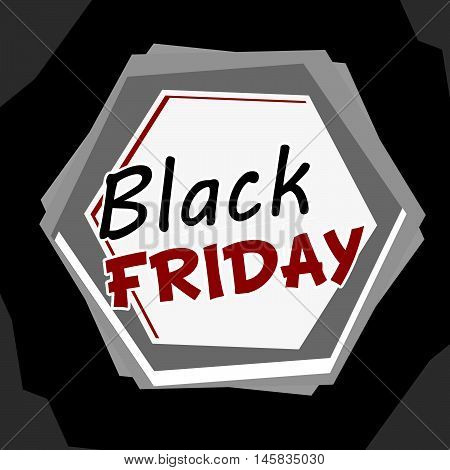 black friday sale banner - grey label with hexagons and text, business holiday concept, flat design, vector