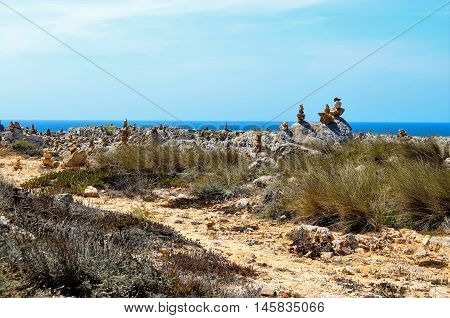 View of stone pillars made by people, Sagres, Algarve region, Portugal