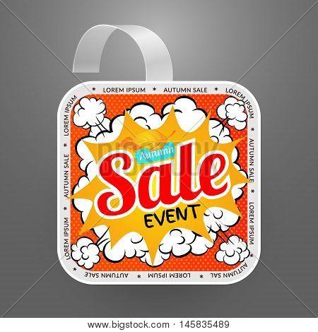 Square wobbler design template. Autumn sale event. Vector illustration in pop art style.