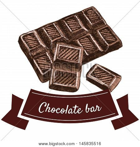 Vector illustration colorful set with chocolate bar. Illustration of chocolate products on white background