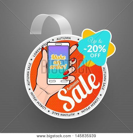 Round wobbler design template. Autumn sale event. Vector illustration with smartphone in pop art style.