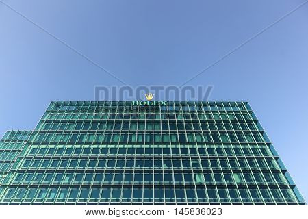 Geneva, Switzerland - August 14, 2016:  Rolex offices and headquarter in Geneva. Rolex manufacture, distribute and service wristwatches sold under the Rolex and Tudor brands