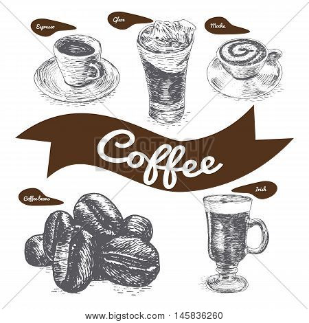 Vector illustration black and white set with coffee. Various kinds of coffee on white background