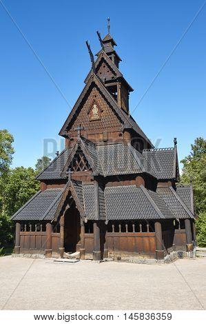 Norwegian Oslo restored stave church. Gol. Bygdoy. Norsk Folkemuseum. Vertical