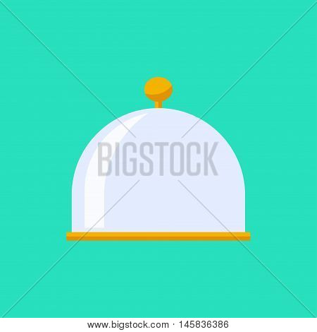 Vector flat cloche icon. Food plate illustration