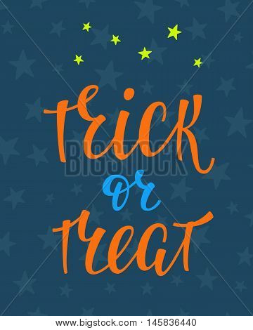 Halloween Party simple lettering. Calligraphy postcard or poster graphic design lettering element. Hand written postcard design. Photography overlay sign detail. Trick or Treat Stars sky night pattern