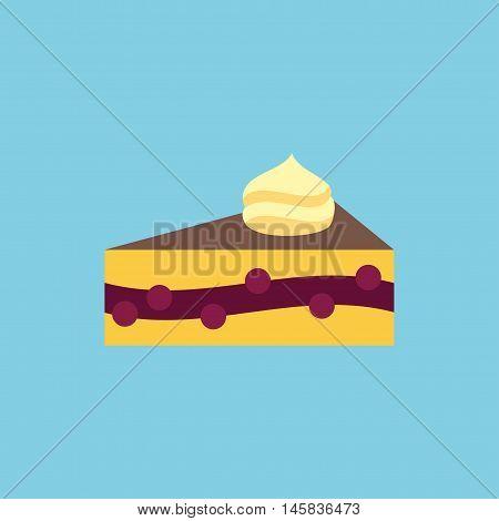 Vector cake slice icon. Dessert food illustration