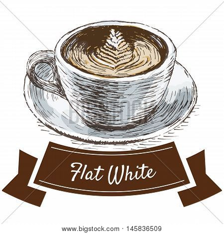 Vector illustration colorful set with flat white coffee. Illustration of coffee on white background