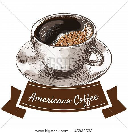 Vector illustration colorful set with americano coffee. Illustration of coffee on white background
