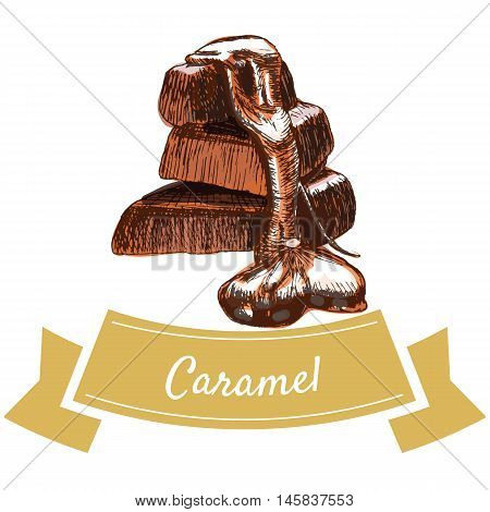 Vector illustration colorful set with caramel candy. Illustration various of chocolate products on white background