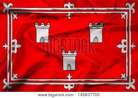 Waving Flag of Aberdeen Scotland, with beautiful satin background.