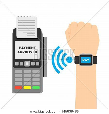 Payment approved concept. Payment through smart watches with nfc. Online transaction.