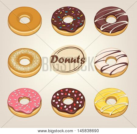 donuts sweet  round glaze bright vector illustration icon food light background