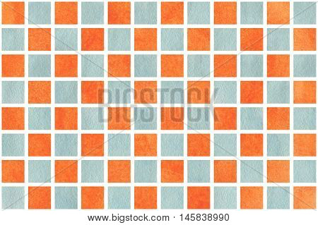 Watercolor Orange And Blue Squares