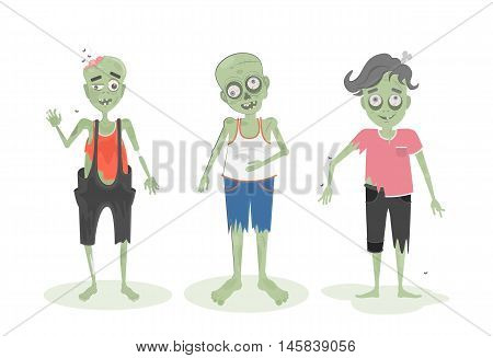 Isolated scary zombie set. Green zombies with brain, bone and spit. Scary reanimated monster for halloween decoration.