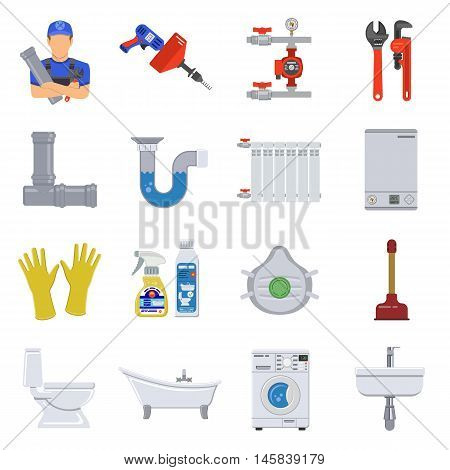 Plumbing Service Flat Icons Set with Plumber, Device and Tools items. Isolated vector illustration.
