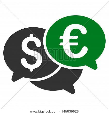 Currency Bids icon. Vector style is bicolor flat iconic symbol, green and gray colors, white background.