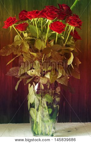 a bouquet of red roses in a vase. Floral background greeting card image. Bouquet of red roses in glass vase.