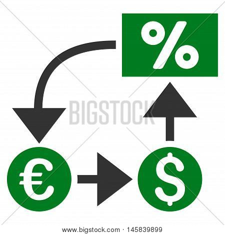 Currency Cashflow icon. Vector style is bicolor flat iconic symbol, green and gray colors, white background.