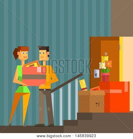 Young Couple Moving Into New Apartment Pixelated Illustration. Minimalistic 8-bit Style Bright Color Illustration OF Resettlement Process.