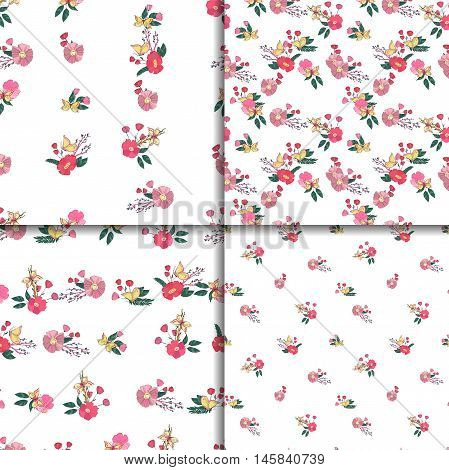 Floral Seamless Vintage Pattern Set With Wildflowers and Butterfly. Hand Drawn Illustrations