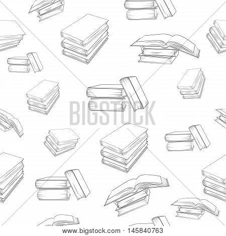 Seamless outline books pattern. Vector seamless texture