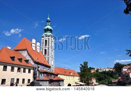 Cesky Krumlov, Czech republic - July 9, 2015: Ex - church of saint Jost