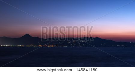 Harbor of Heraklion, Crete, Greece in the sunset
