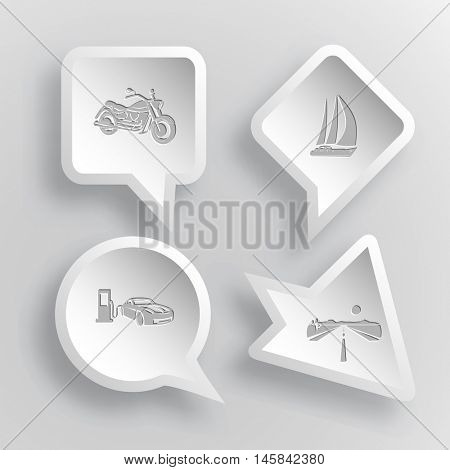 4 images: motorcycle, yacht, car fueling, road. Transport set. Paper stickers. Vector illustration icons.