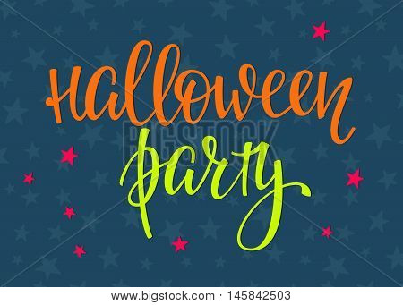 Halloween Party simple lettering. Calligraphy postcard or poster graphic design lettering element. Hand written postcard design. Photography overlay sign detail. Stars sky night pattern