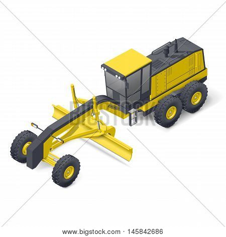 Motor grader isometric detailed icon vector graphic illustration